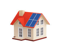 House with solar panels on a roof Stock Photo
