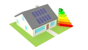 House with solar panels on the roof next to energy efficiency gr Royalty Free Stock Photos
