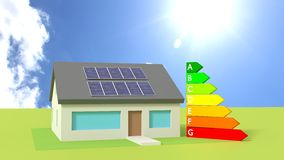 House with solar panels on the roof sunny day Stock Photo