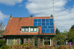 House with solar panels Stock Image