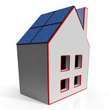 House With Solar Panels Showing Renewable Energy Stock Photo