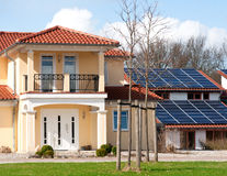 House with solar roof Stock Photo