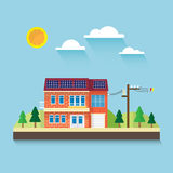 The house with solar rooftop Royalty Free Stock Photo