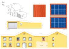 House Solar Thermal Collector Papercraft. Papercraft model of a house with solar thermal collector on the roof, photovoltaic technology - cut-out sheet for Stock Images