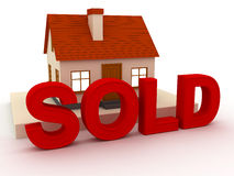 House sold. This is a 3D rendered picture Royalty Free Stock Photo