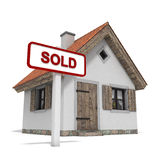 House sold. House with sold sign Royalty Free Stock Photos