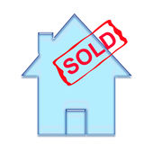 House sold. Software generated 2D house with a SOLD red stamp Stock Photography