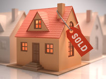 House Sold. Small house with red label written sold royalty free illustration