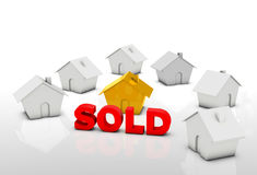 House sold. House is orange color presented in sold Stock Images