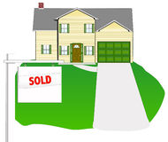 House - Sold. Illustration of a sold home stock illustration