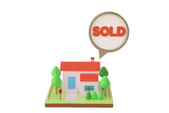 House and sold dialog.3D illustration. Stock Image