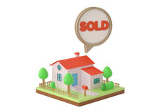 House and sold dialog.3D illustration. Stock Photography