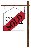 House Sold Hanging Sign Stock Photo