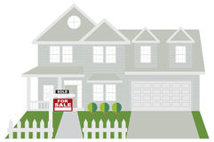 House Sold with For Sale Sign Color vector Illustration. Two level house with two car garage with sold for sale sign on front lawn color outline vector stock illustration