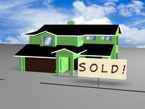House with sold sign Stock Images