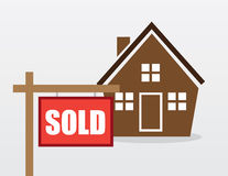 House Sold Sign. House with red sold sign outside Stock Photos