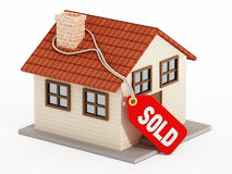 House with sold tag. Isolated on white background vector illustration