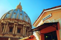 House souvenir Vatican. Home souvenirs and Vatican dome stock image