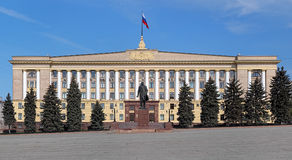 House of Soviets and Monument to Lenin in Lipetsk Royalty Free Stock Photography
