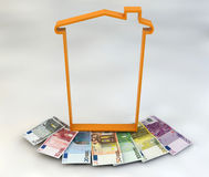 House spending tax money IMU euro banknotes Royalty Free Stock Photo