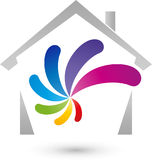 House and spiral in color, painter and real estate logo. House and spiral in color, colored, painter and real estate logo Royalty Free Stock Photos