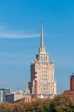 House with a spire Soviet times on Moskva River Stock Photo