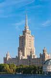 House with a spire Soviet times on Moskva River Royalty Free Stock Photography