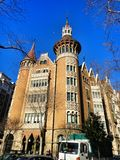 House with spires in Barcelona city, Spain Stock Images