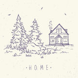 House and spruce. Beautiful sketch with beautiful house and spruce. Hand drawn sketch. Stylish vector illustration Stock Image