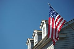 House in St Augustin with american flag Stock Photos