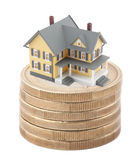 House on stack of euro coins Royalty Free Stock Photography