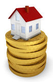 House on stack of golden coins. Real estate market and mortgage concept. 3d illustration on white background Royalty Free Stock Photography