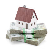 House on stack of polish zlotys Royalty Free Stock Photo