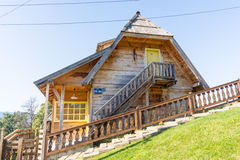 The house and the stairs on the hillside in Kusturica Drvengrad in Serbia Royalty Free Stock Photo