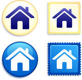 House on Stamp and Button Stock Photos