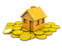 House standing on coins Stock Image