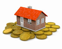 House standing on coins Royalty Free Stock Photography
