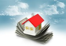 House standing on dollar notes. Real-estate concept Royalty Free Stock Images