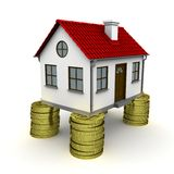 House stands on a foundation of coins Stock Image