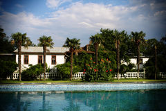 The house stands near the pool. With palm trees Stock Images