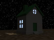 House and starry night sky Royalty Free Stock Images