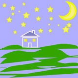 House stars and moon illustration Royalty Free Stock Images