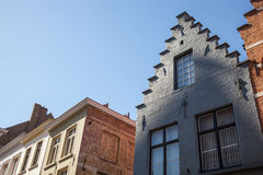 A house with  a stepped gable roof in Bruges. Stock Photo