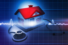 House with stethoscope Stock Photos