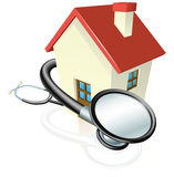 House and stethoscope concept. A house with a stethoscope wrapped round it. Concept for property maintenance or other real estate related Royalty Free Stock Images