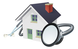 House Stethoscope Concept. A house with a stethoscope wrapped around it. Conceptual illustration Stock Images