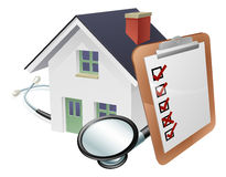 House Stethoscope and Survey Clipboard Concept. Concept of a house with a giant clipboard or survey leaning on it and a stethoscope wrapped around it Stock Photo