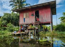 House on stilts in floating market Damnoen Saduak Royalty Free Stock Photo