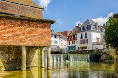 House on stilts in the French town of Salies de Bearn. Royalty Free Stock Image