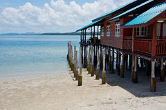 House on stilts at the tropical beach Stock Images